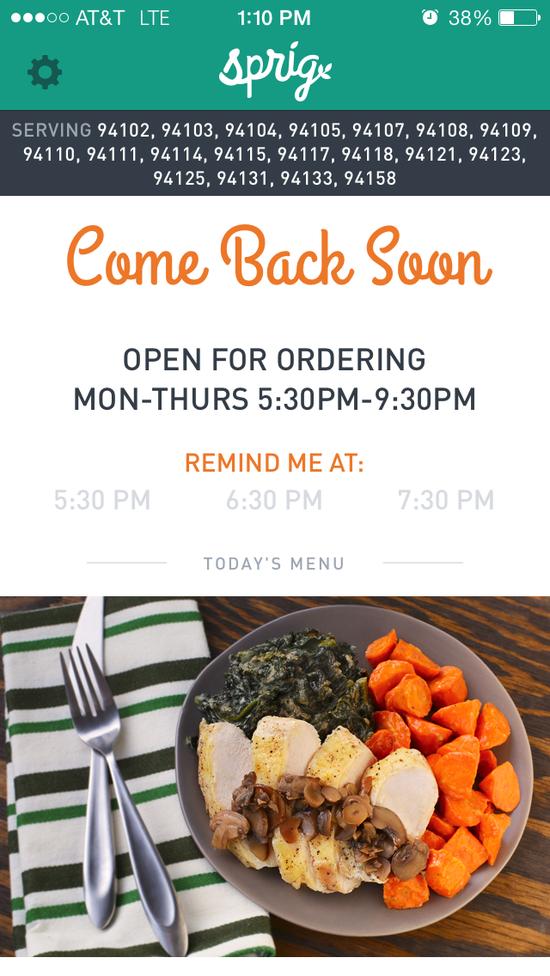 Sprig app 的订餐界面