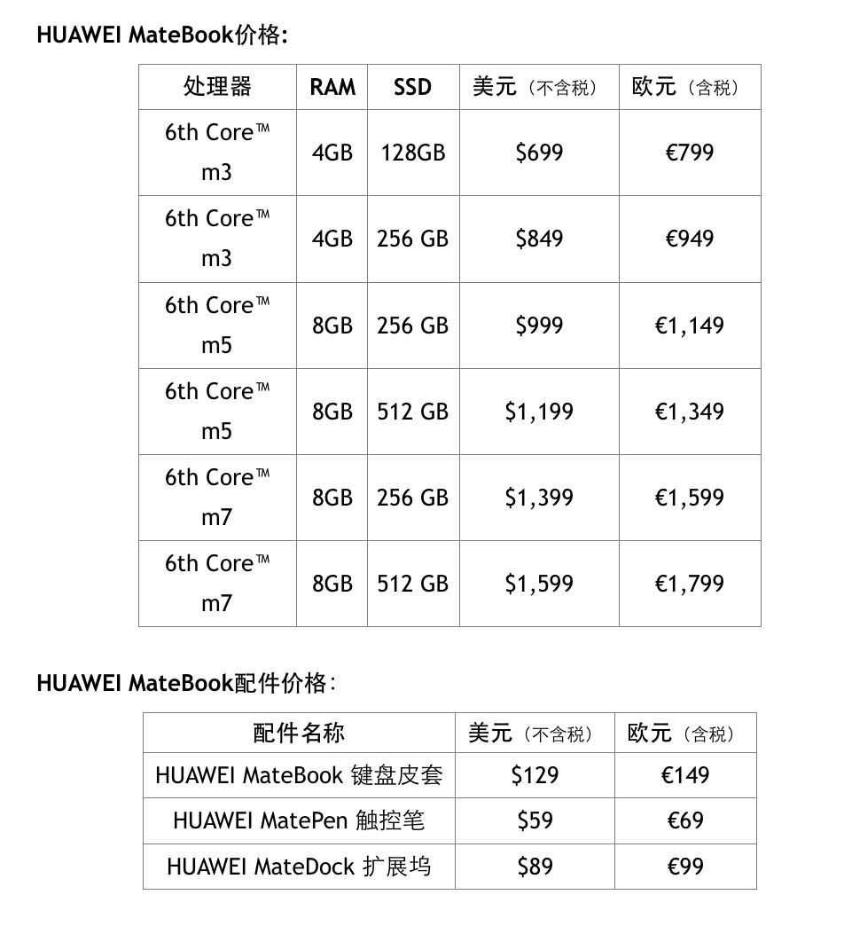 Matebook欧美地区定价