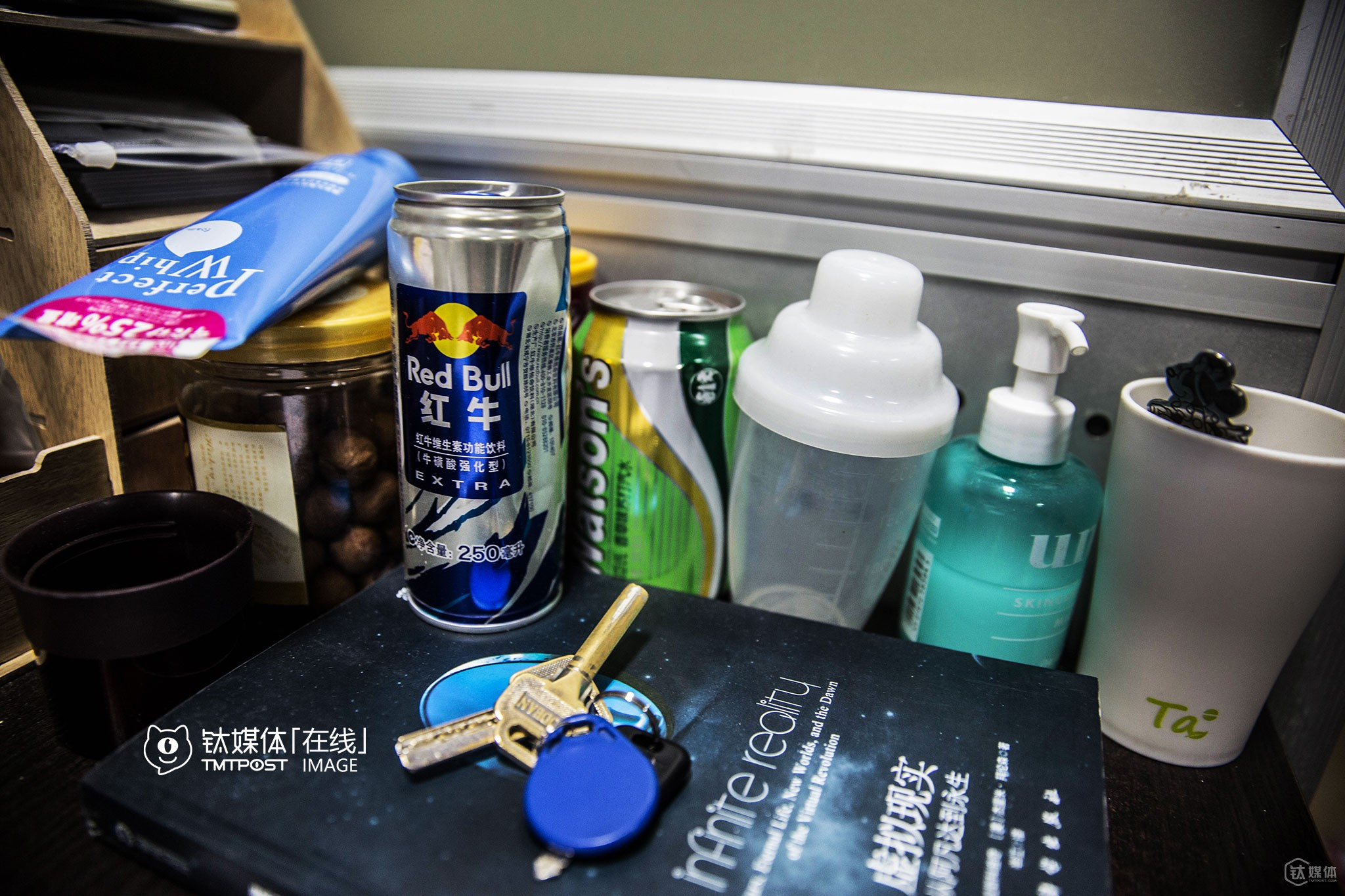 Since his team changes a lot, working overtime is quite common recently. To refresh themselves, they prepared RedBull and face cleanser.