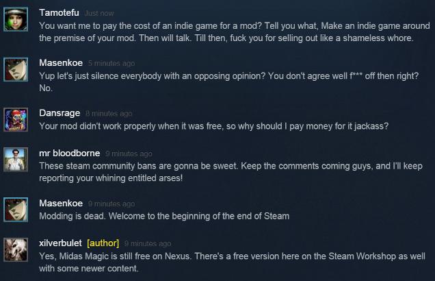 出售 mod 的开发者遭到了玩家的指责和辱骂