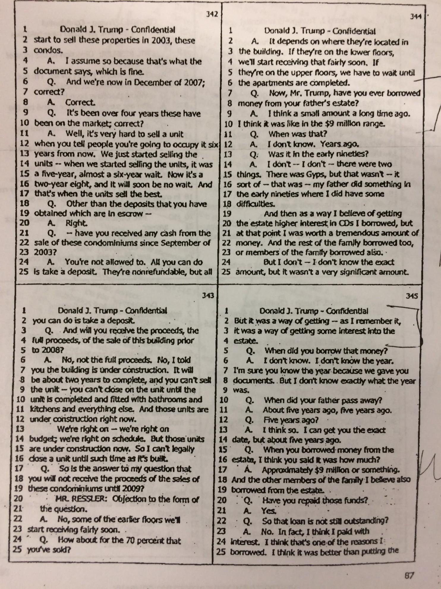 在2007年,特朗普的一份证词 来源:《华盛顿邮报》