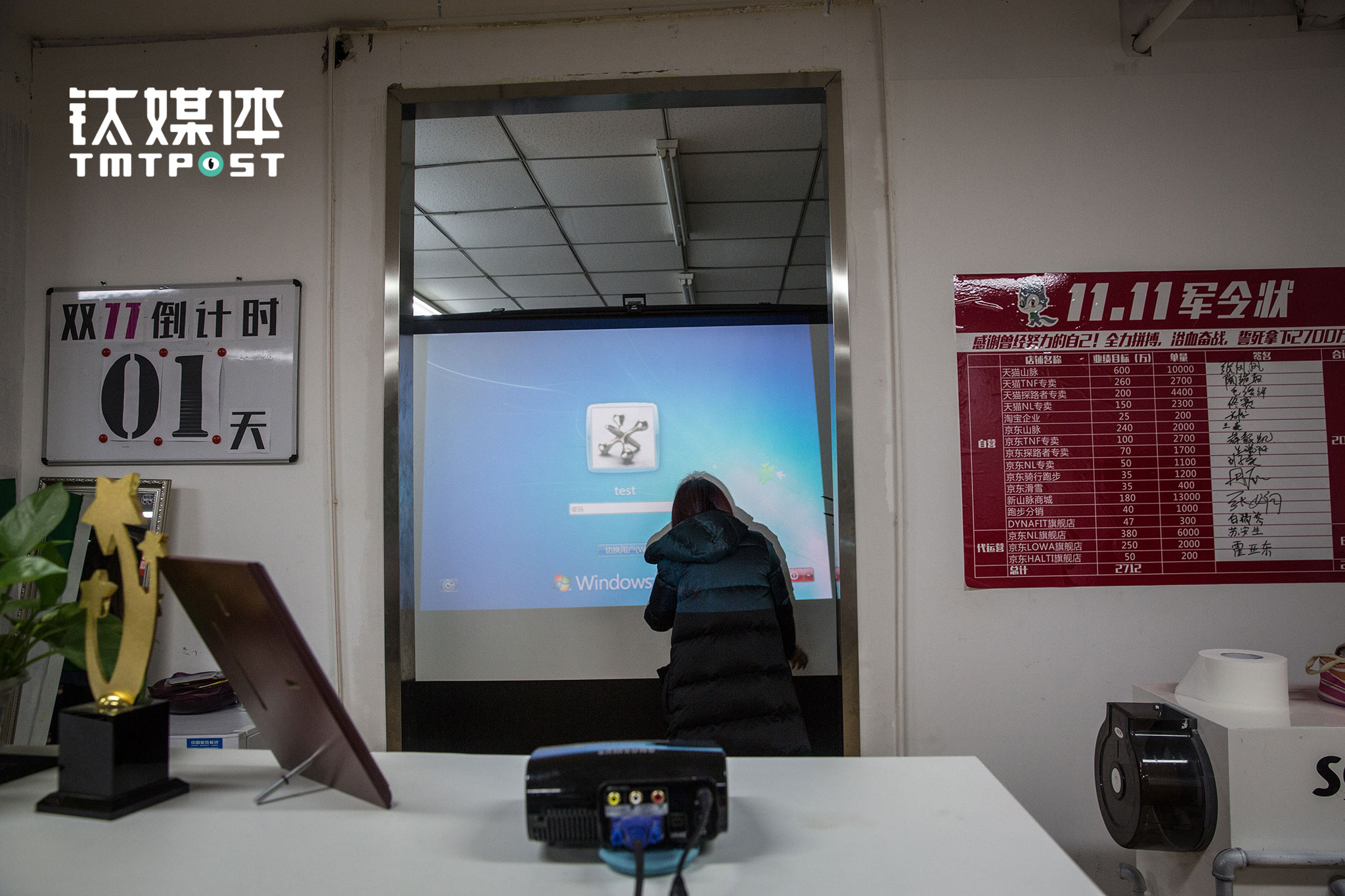 """2016年11月10日22点,北京,电商""""双十一""""大促即将到来,山脉户外办公室支起了背投,11日零点开始,这块幕布上将实时显示这家公司旗下部分店铺的成交量。两边的墙壁上,贴着""""双十一""""倒计时标示和2016年""""双十一""""总计2712万的销售目标。"""