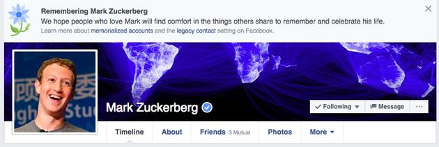 出现错误的扎克伯格Facebook主页出现错误的扎克伯格Facebook主页