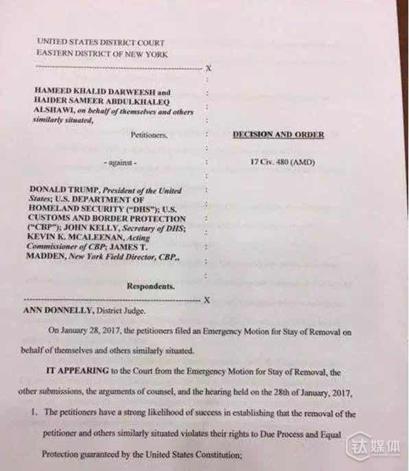 法院的命令,是不准将滞留在机场无法入境的这7国旅客驱逐出境