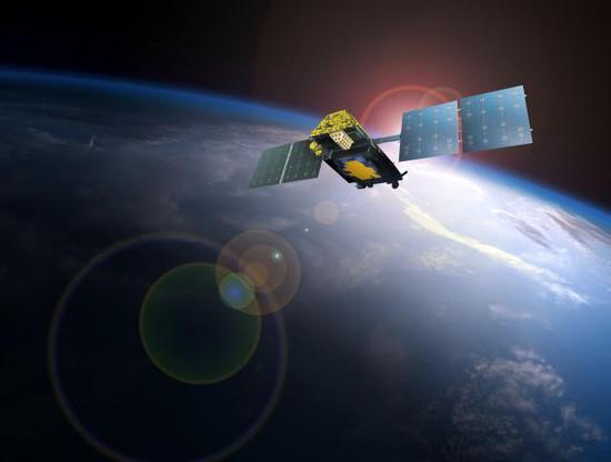 运行在太空的第二代铱星通信卫星效果图