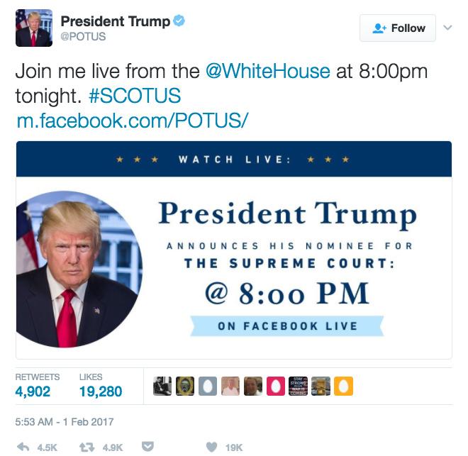 美国总统特朗普在其 Twitter 帐号上发布 Facebook 直播的消息