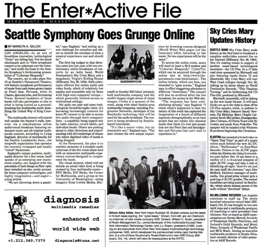 在当年的《公告牌》(Billboard)杂志上对线上交响乐会的报道 来源:Billboard