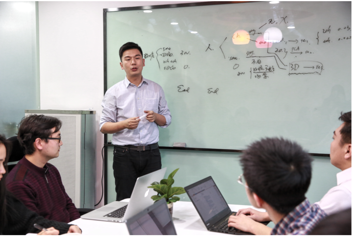 Xu Li, CEO of SenseTime Technology, along with his team