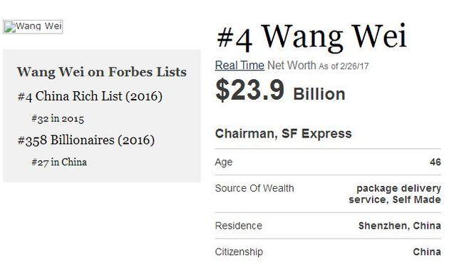 福布斯实时富豪排行榜 王卫个人财富信息