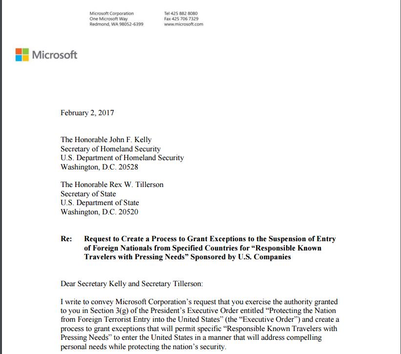 微软请求特朗普政府在移民政令上开辟豁免计划的计划书