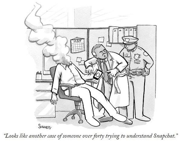 """《纽约客》的一部漫画,讽刺成年人为了搞懂Snapchat大脑都""""自爆""""了"""