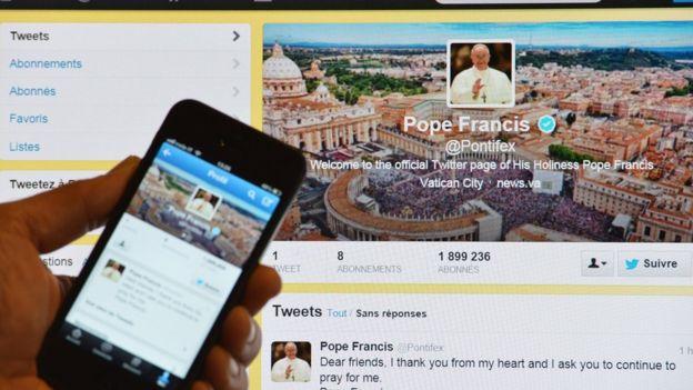Pope Francis的推特账号。图片来源/Getty Image