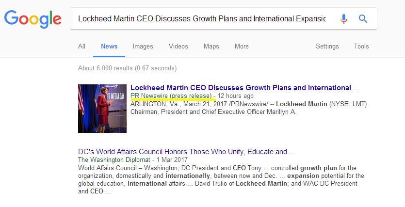 谷歌在搜索结果中置顶企业新闻稿