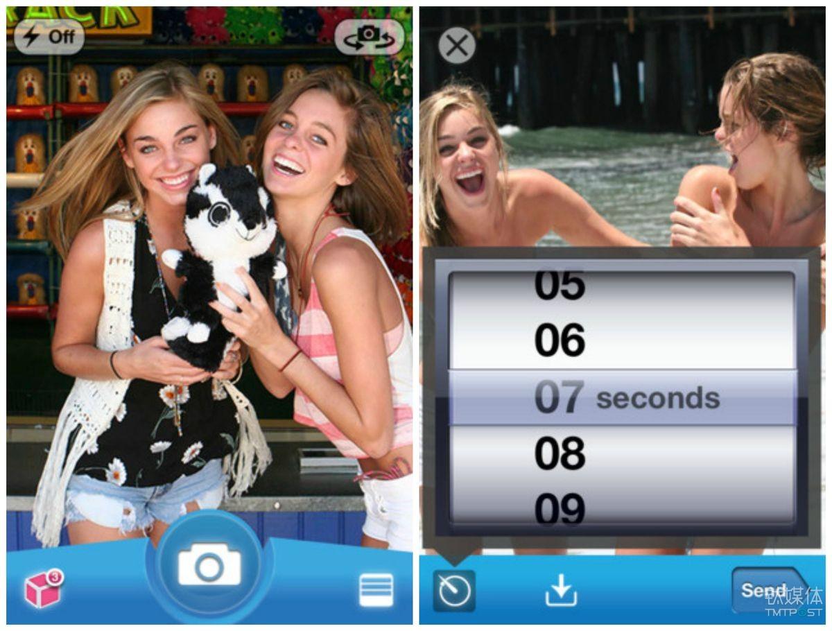 Snapchat 在2012年推出了 Android 版本并增加了视频功能 来源:mashable