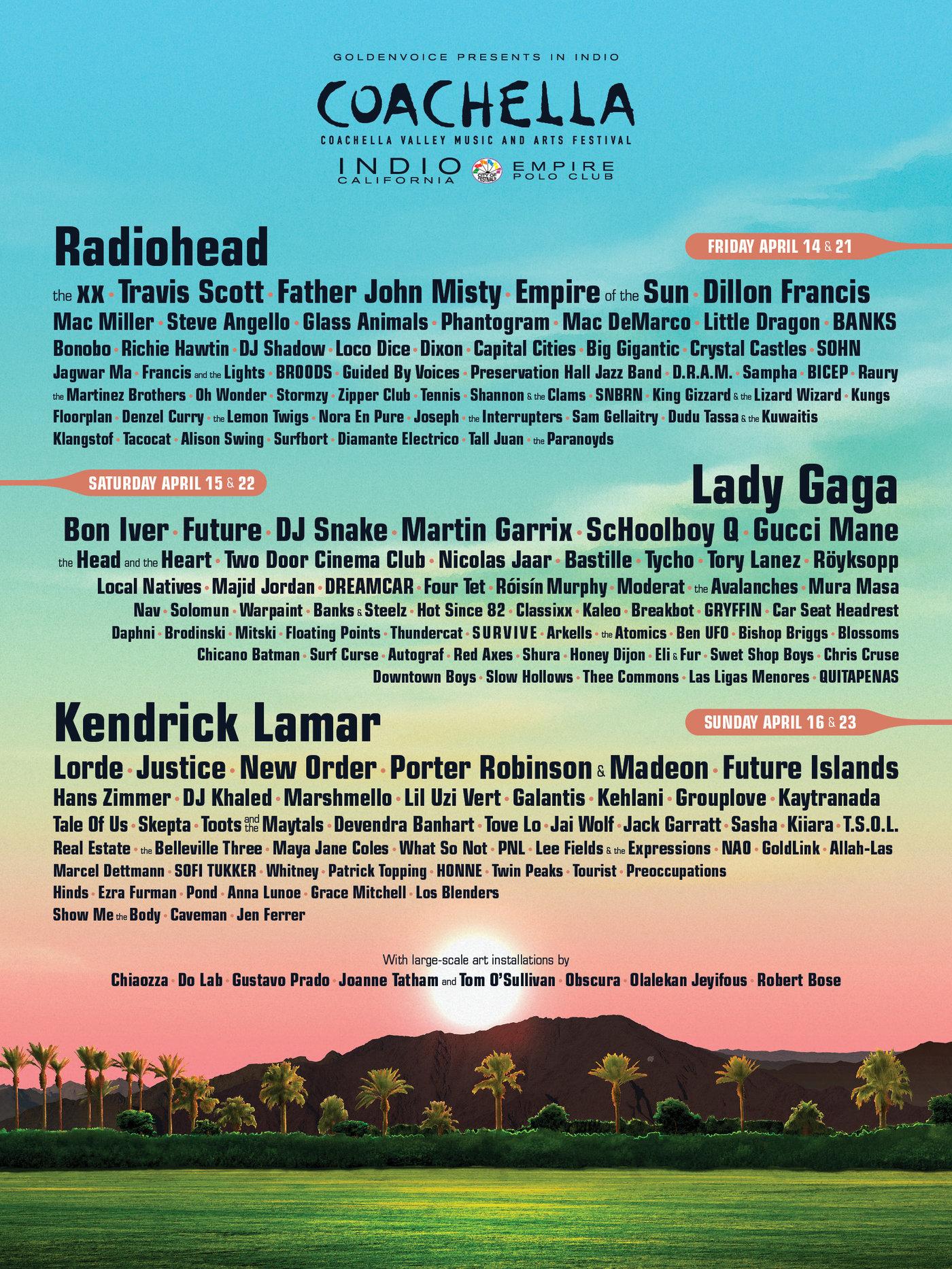 2017年Coachella音乐节海报及出场艺人/图片来源coachella.com