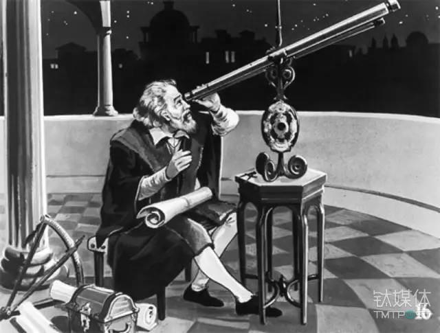 图丨伽利略与望远镜