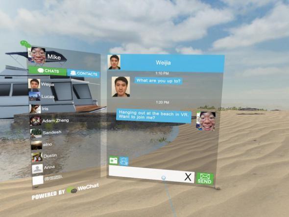 HTC为其VR平台上接入微信功能,让用户在HTC Vive里面和微信好友聊天