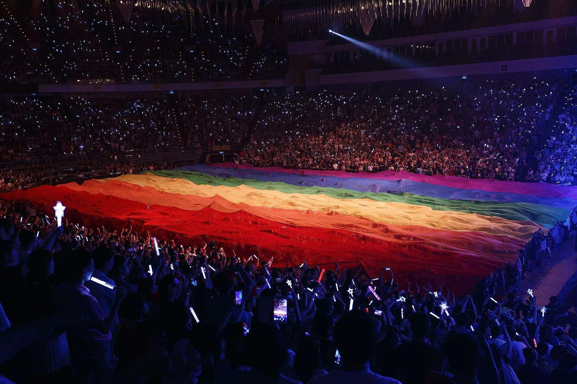 张惠妹演唱会上的彩虹旗