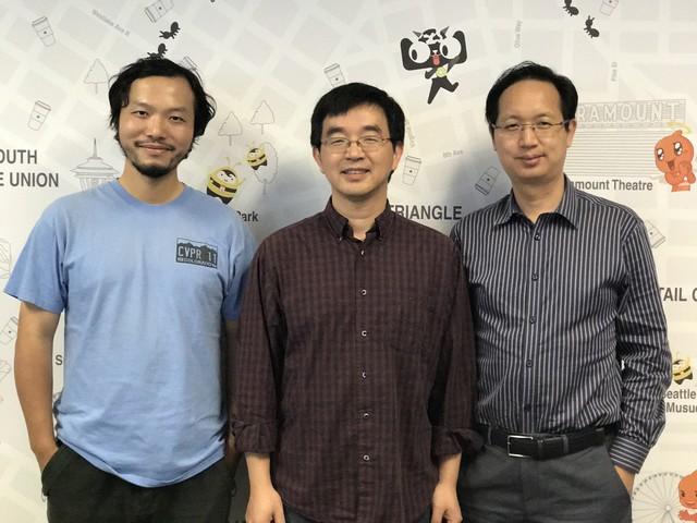 金榕(中间)、任小枫(左一)、华先胜(右一)合影
