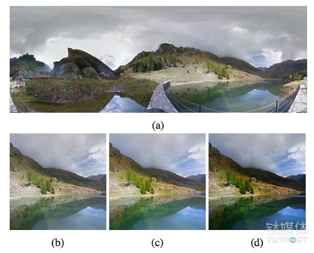 谷歌人工智能系统随意选择了一张谷歌街景图片,剪切后为其加上滤镜,最后生成一张风景大片。图片来源/谷歌