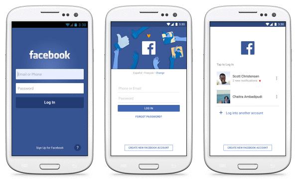 左侧为2011年的Facebook安卓版注册界面;中间为当前的界面,语言更为简练,拥有更吸引人的视觉效果;右侧为帐户切换界面,便于多个用户共享一部手机。