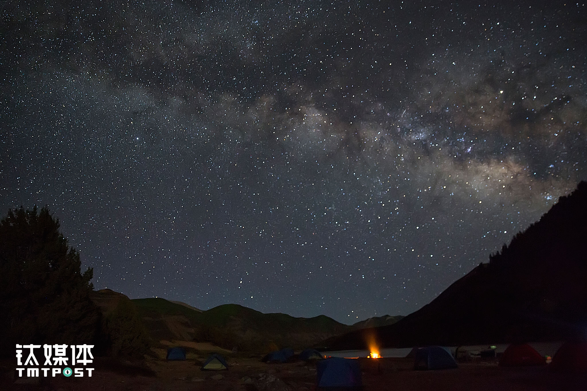 The milky way was shining above the camp in a tranquil night.