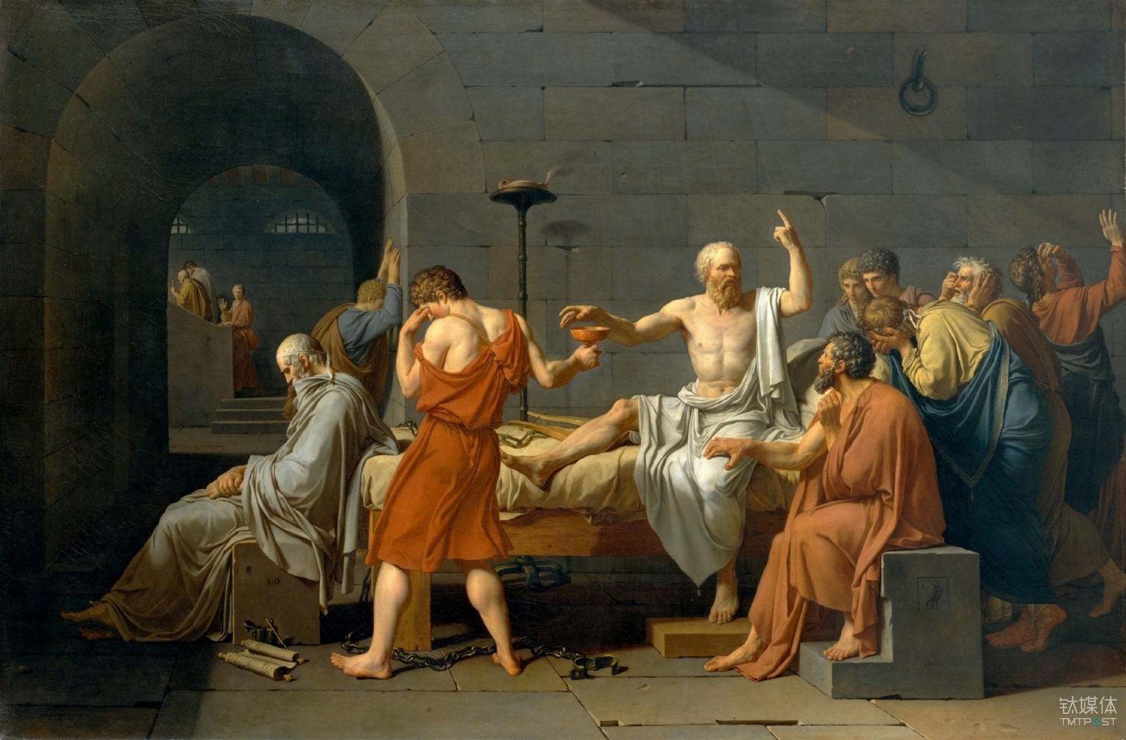 The Death of Socrates, by Jacques-Louis David, 1787 / Metropolitan Museum of Art, New York