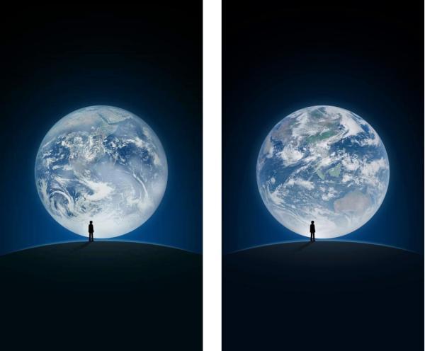 左为原图,右为风云四号拍摄