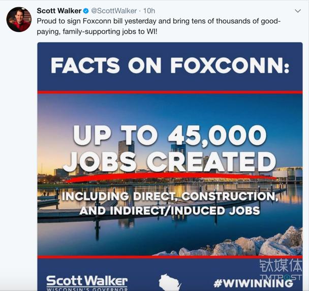 威斯康星州州长沃克的推文,喜悦之情溢于言表。图片来源/Twitter