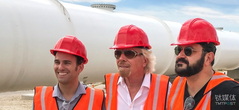 Richard Branson (center) with Hyperloop One's co-founders Shervin Pishevar (left) and Josh Giegel at Hyperloop One's Nevada test track.
