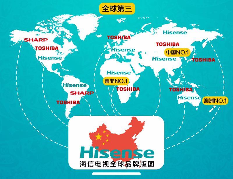 图为海信电视全球品牌版图