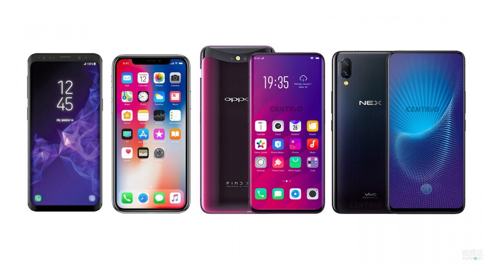 Samsung S9+、iPhone X、OPPO Find X、vivo NEX S