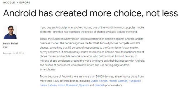 欧盟对谷歌发出50亿美元的罚单后,谷歌CEO桑德·皮查在谷歌官网发文抗议。
