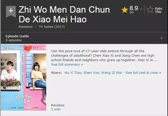 网友调侃:《致我们单纯的小美好》这个评分,我要向国产偶像剧道歉!