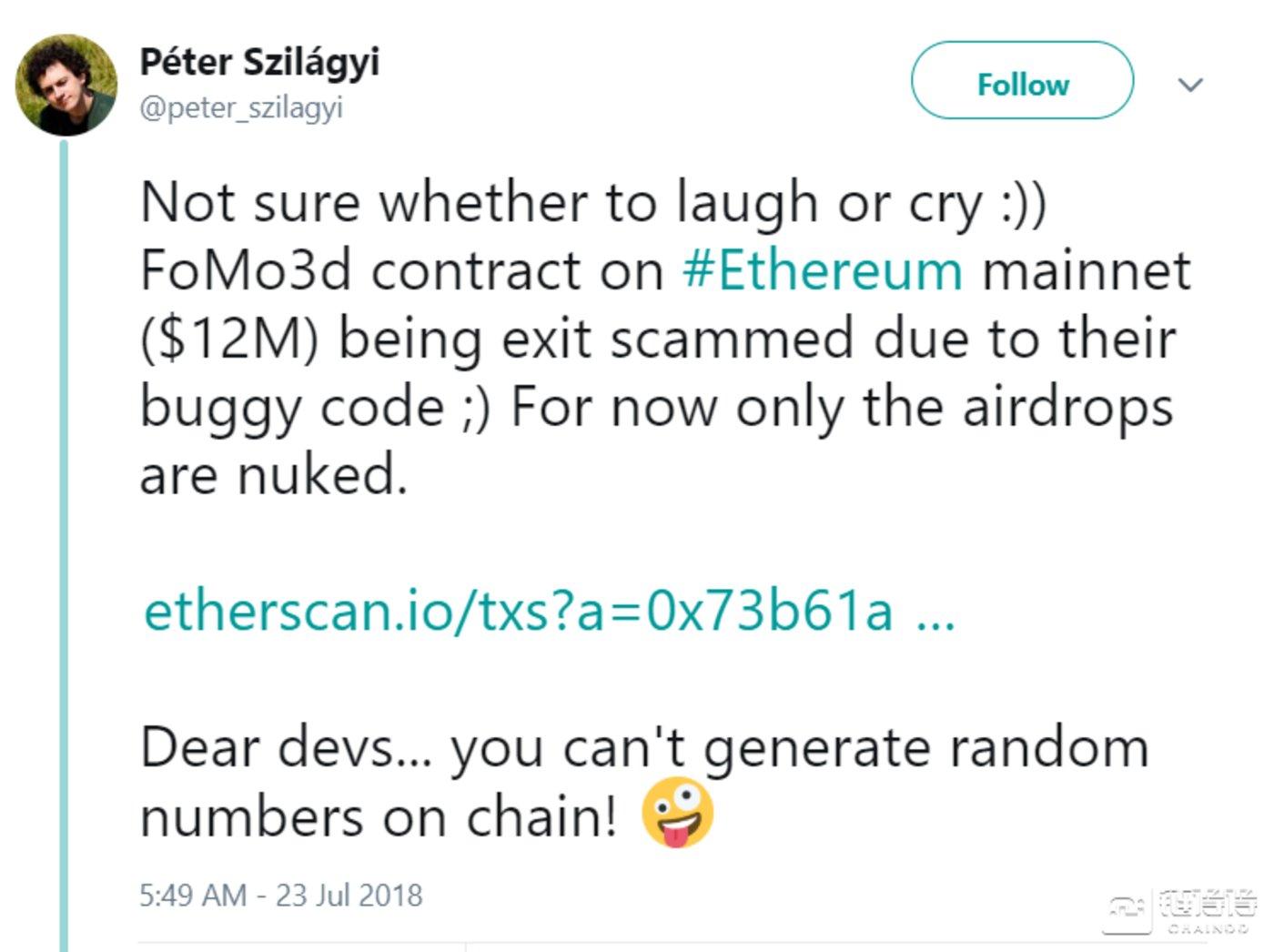 来源:peter szilagyi的twitter