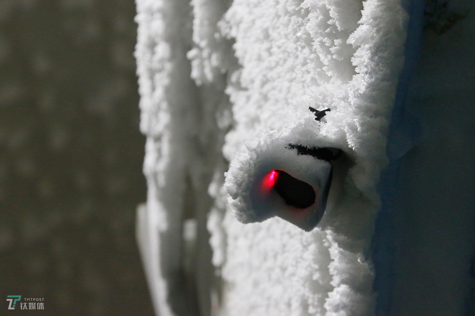 厚厚的冰雪覆盖了冷冻区大门的监控。