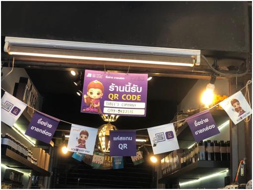 图爲曼谷跳蚤市场的汇商银行的领取广告