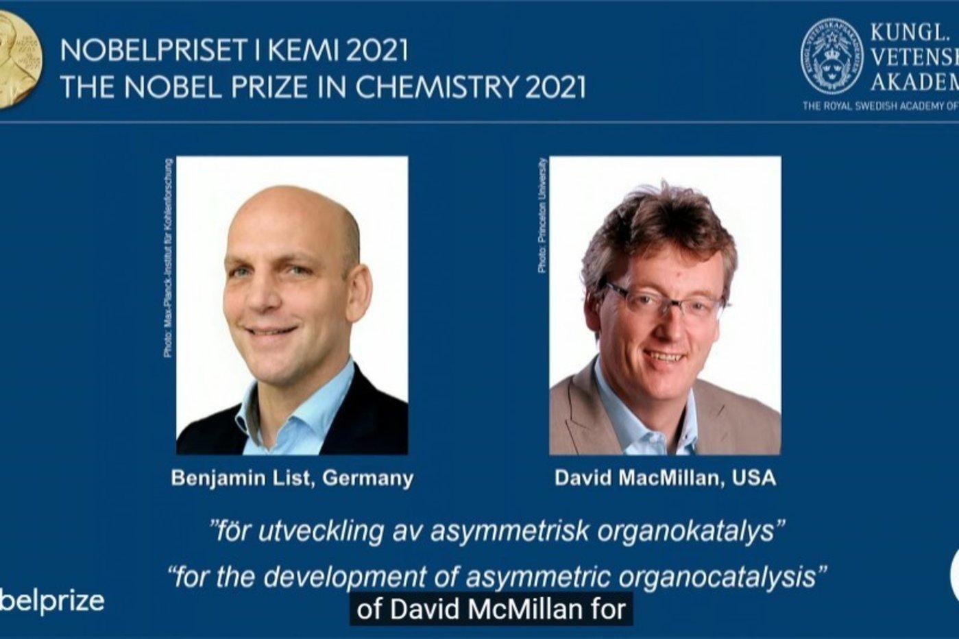 德国科学家李斯特(Benjamin List,左)、美国科学家麦克米兰(David MacMillan)(@NobelPrize/Twitter)