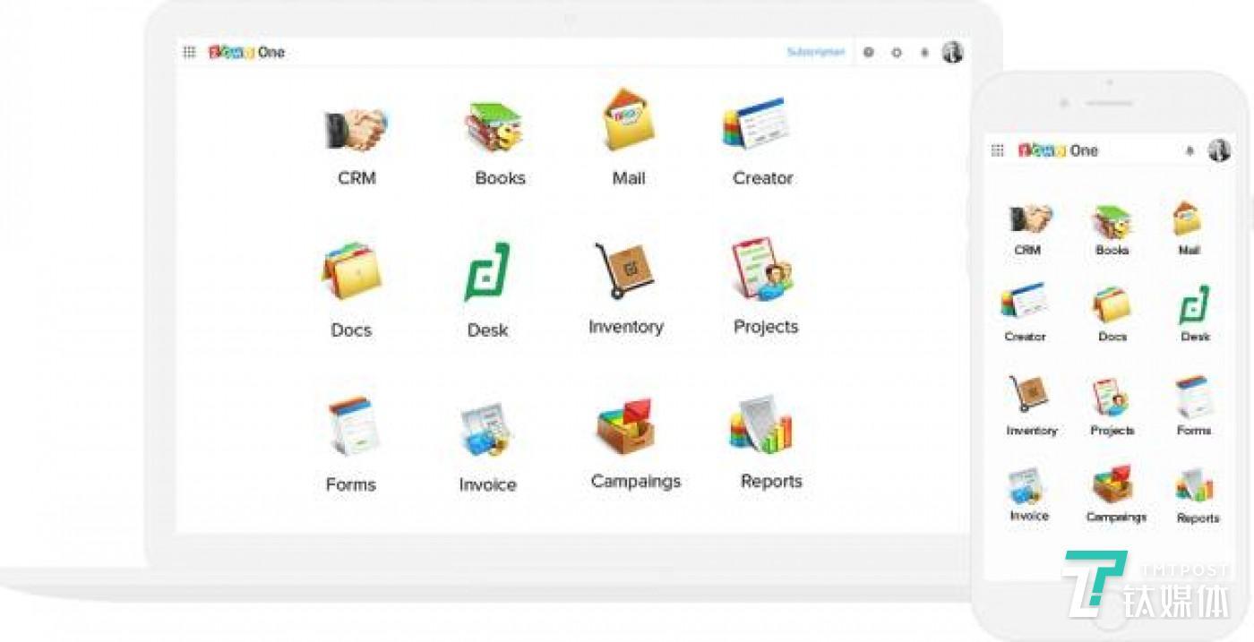 """在2017年7月,ZOHO 推出了一套包含 35 款在线办公软件的""""ZOHO One""""软件包"""