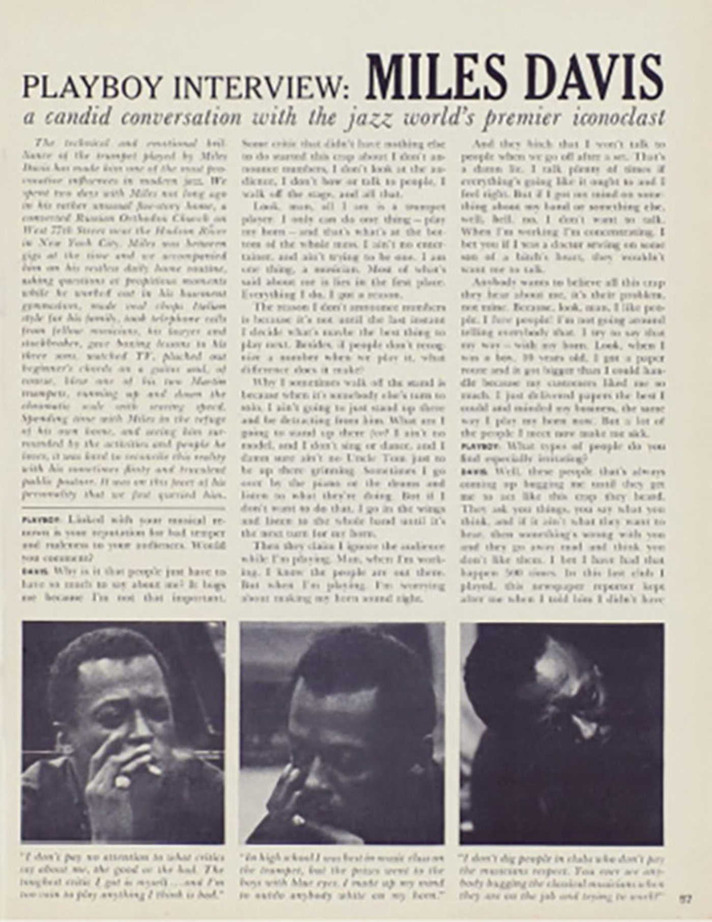 《花花公子》对爵士大师Miles Davis的专访。图片来源/contentful.com
