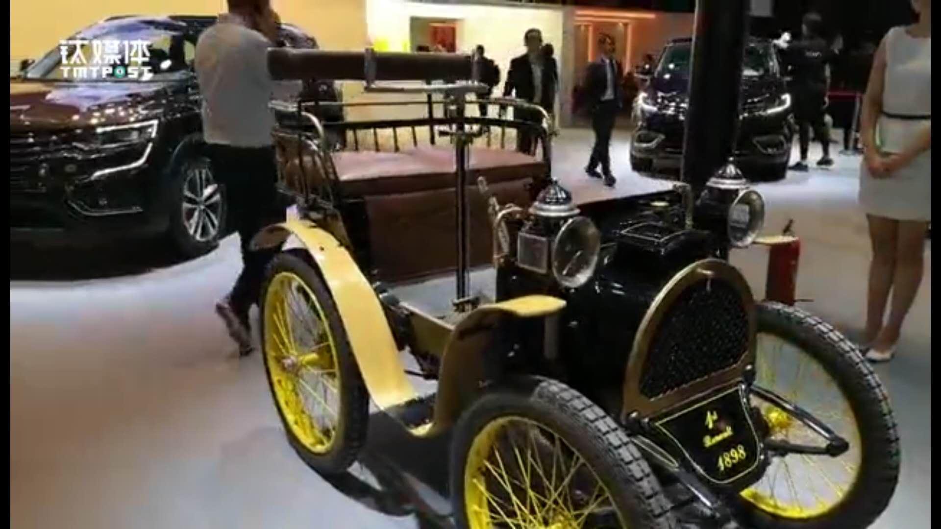 北京车展雷诺展示120年前老爷车 时速可达50公里