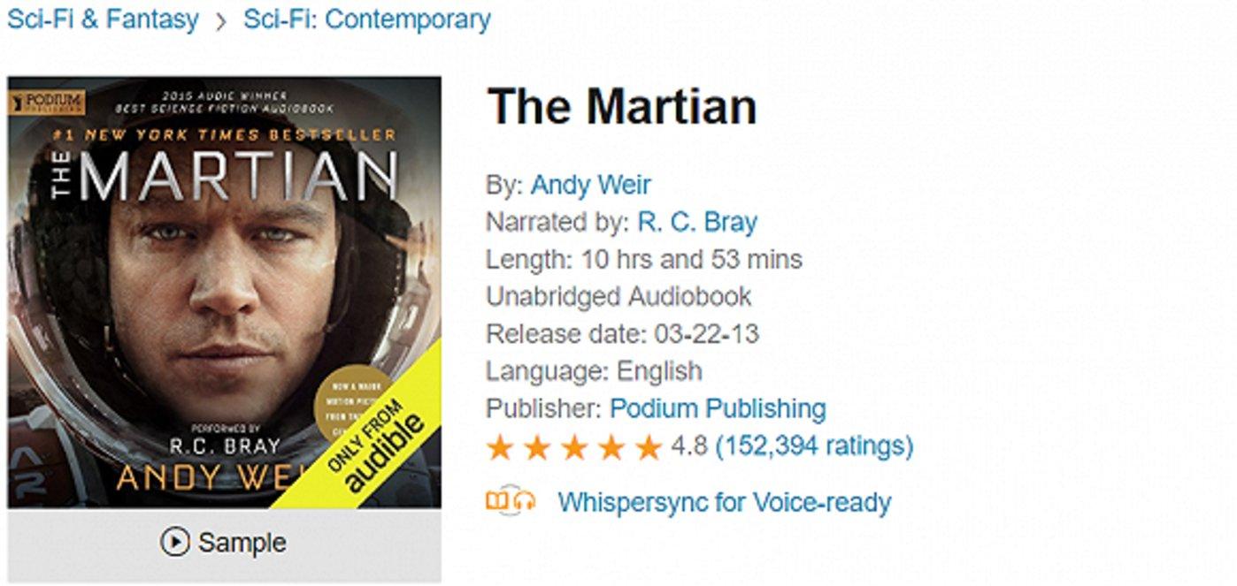 Audible上由美国知名配音演员R. C. Bray朗读的《火星救援》