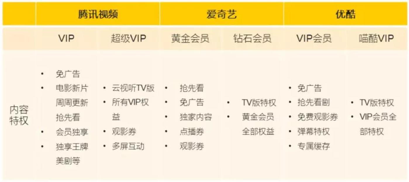 国内主流视频平台付费会员服务,来自《QuestMobile泛娱乐付费用户洞察报告》