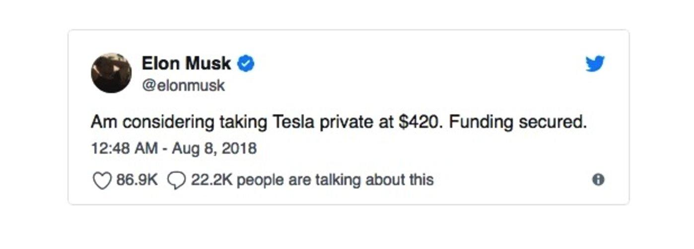 马斯克宣布考虑私有化的推文