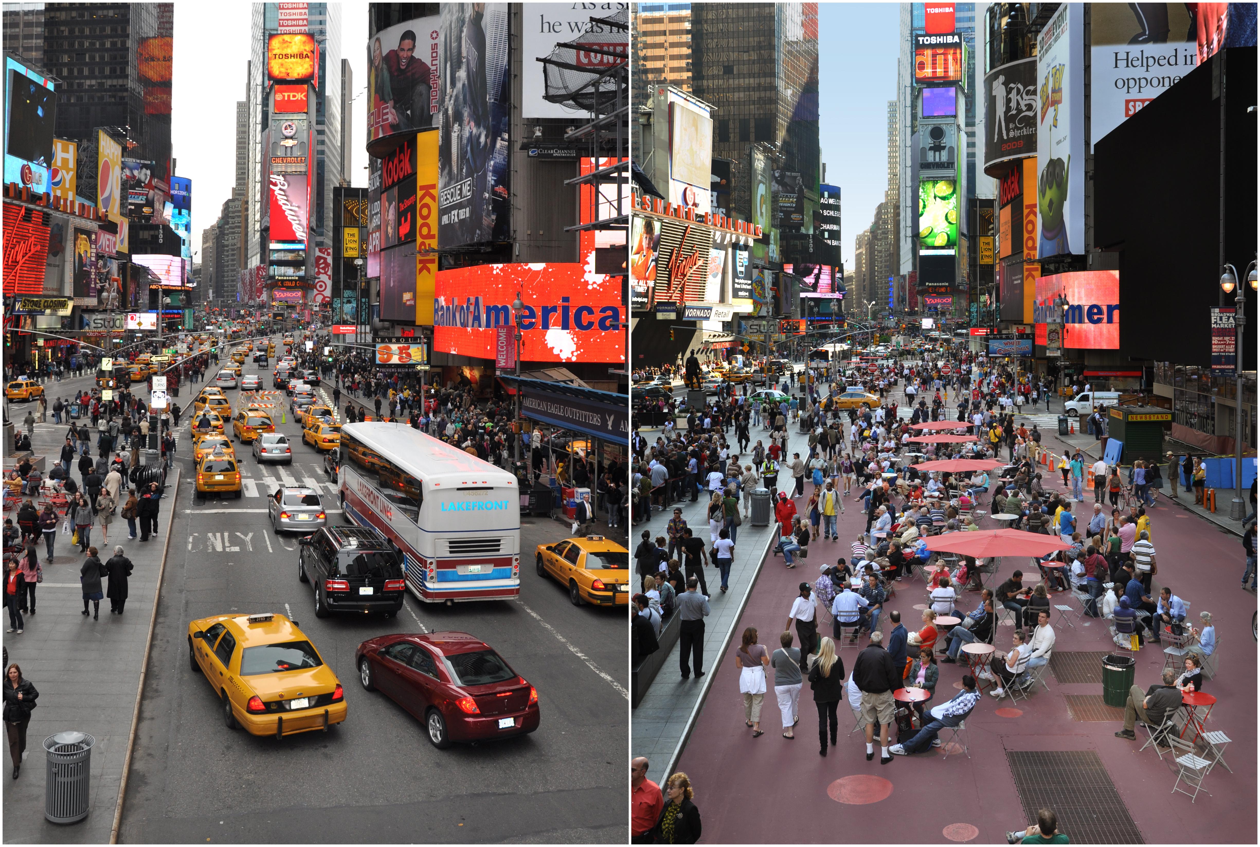 时代广场改造前(左)后(右)