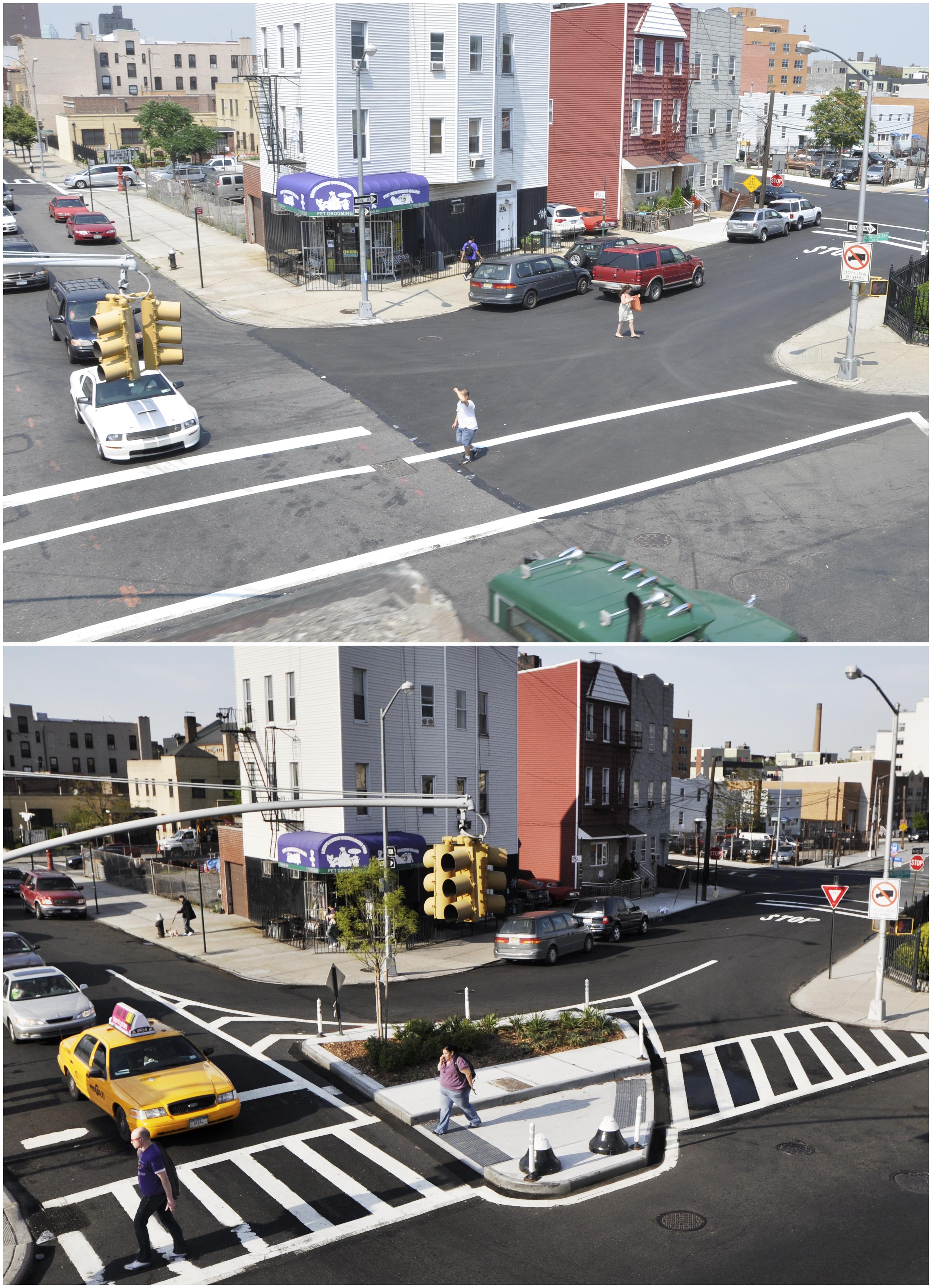 一处街道改造前(上)后(下)