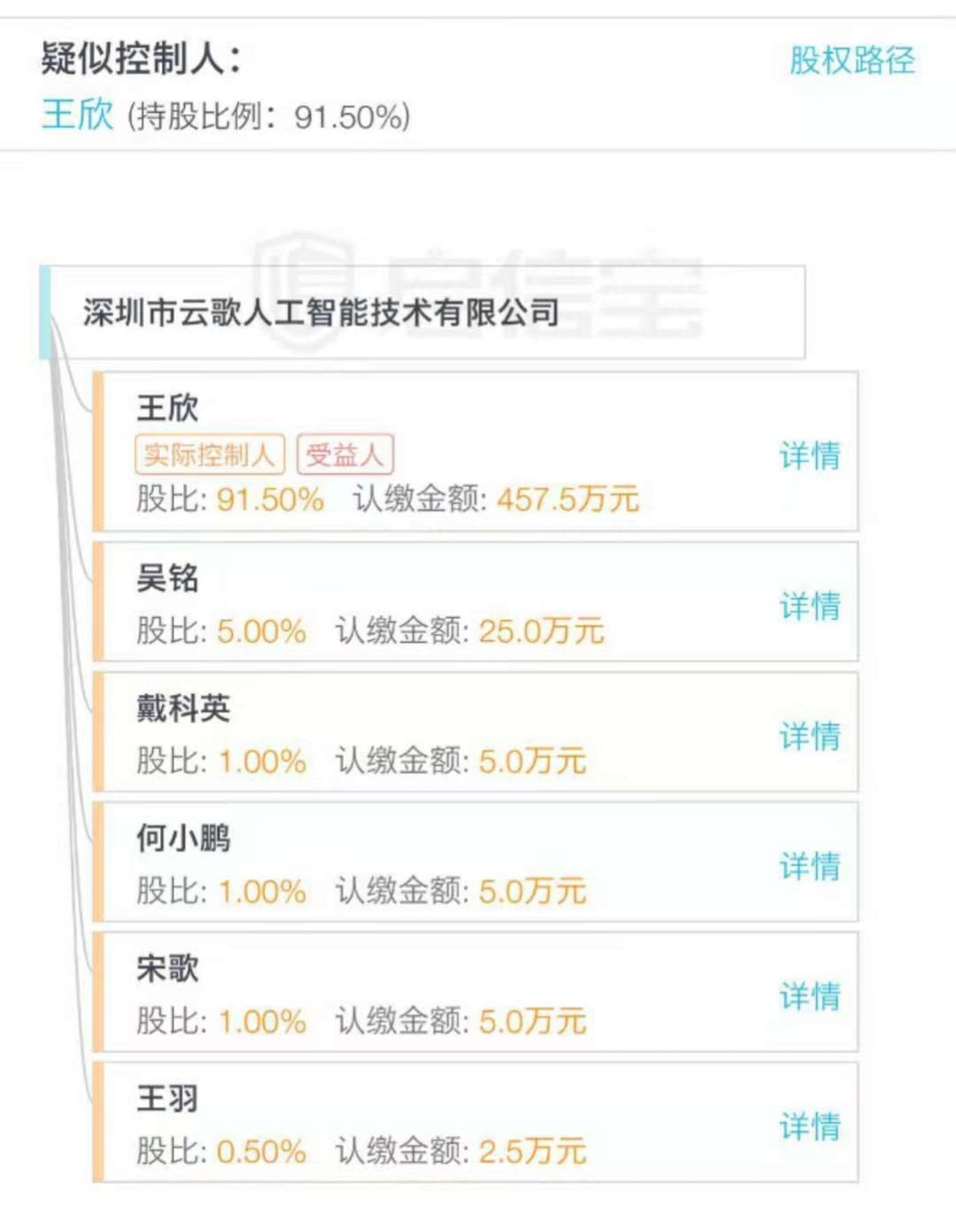 """王欣新成立公司的股权架构/图片来源""""某企业信息查询平台"""""""