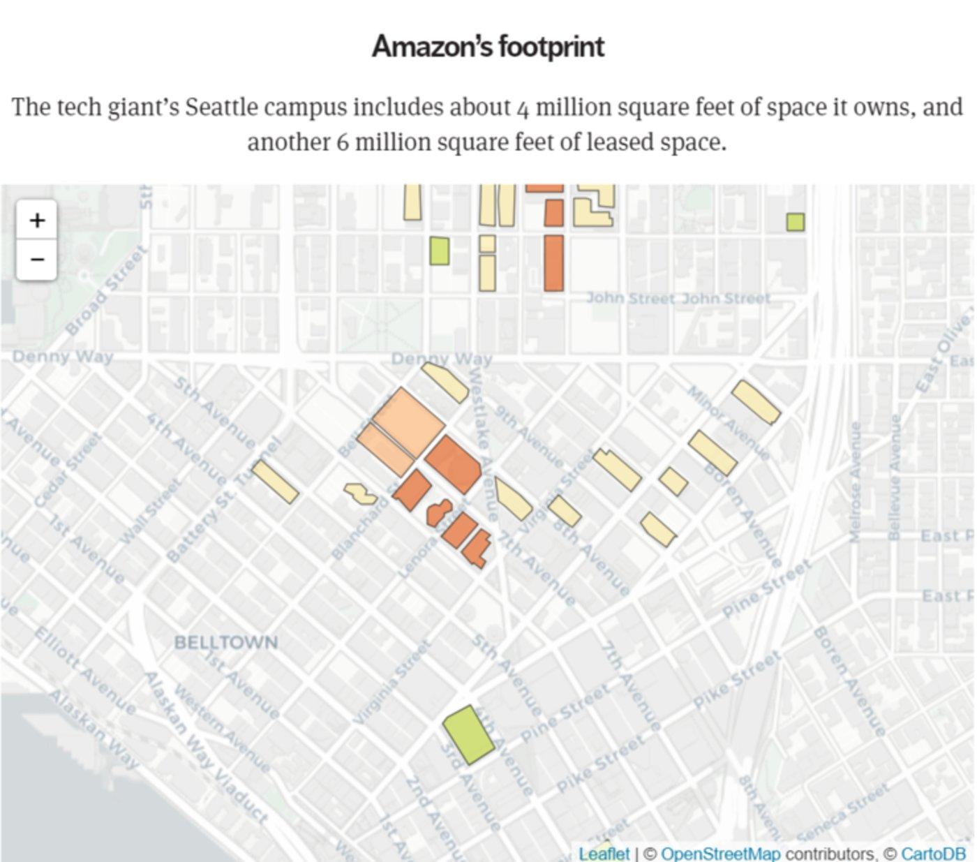 亚马逊在西雅图的占地面积