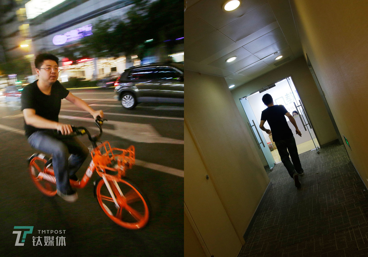 6:30 pm on September 19, Shanghai. Hu Lan hurries back to his office for more overtime after dinner downstairs. (left) Two hours later, he rides a bicycle to perform at a stand-up comedy show. (right)