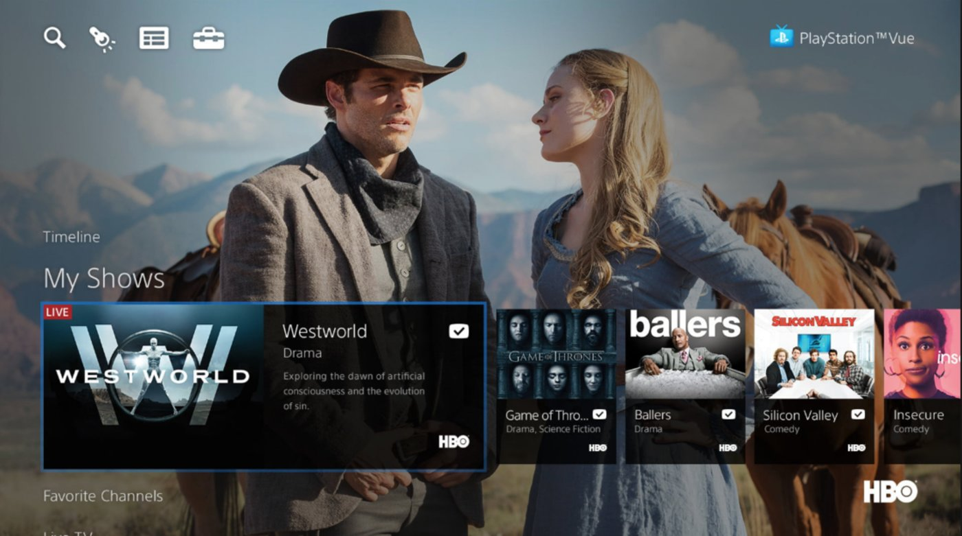 PlayStation Vue App 首页